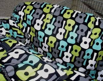 Shopping cart cover for boy or girl  Boutique Shopping Cart Cover .....Groovy Guitars...Lagoon