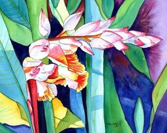 Shell Ginger art, Tropical Foliage print, 8x10 prints, Kauai art, Hawaiian artwork, Hawaiian decor, Hawaiiana, Hawaii art, ginger paintings