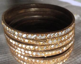ON SALE Golden Brassy Mirrored Bangles - set of 8