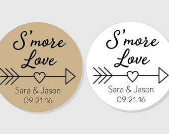 S'more Love Personalized Wedding Stickers - Smore Love - 1.5 inch - 2 inch - 2.5 inch - 3 inch - Bridal Shower - favor gift bag