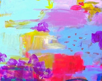 Aqua, pink, yellow, abstract, expressionism, turquoise, red, water meadow