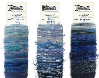 NEW! Scraplets color cards The Blues collection, luxury/novelty yarns hand-tied in color sequences for embellishments & more!