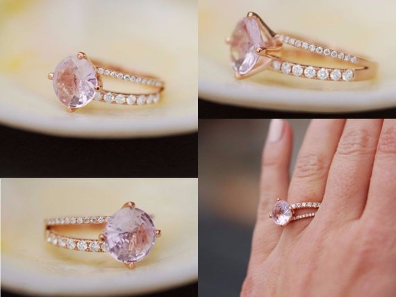 Rose gold engagement ring. Pink sapphire engagement ring. Round ring 2.57ct sapphire 14k gold ring. Unique one of a kind Engagement rings