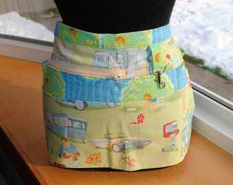 Handmade Vendor Apron Michael Miller Green Campers Trailers Mid Century Modern Utility Craft Farmers Market Teacher