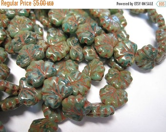 ON SALE 20 Green Turquoise Picasso Czech Pressed Glass Maple Leaf Beads 10 x 13mm