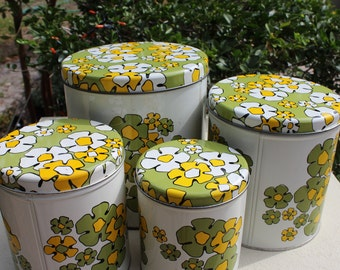 Ballonoff Retro Canister Set 1970's Green and Yellow Flower Tin Set