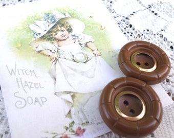 2 Big Brown Vintage Buttons