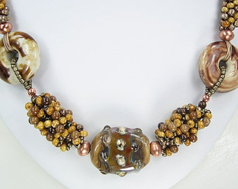 Beaded Kumihimo Necklace with Lampwork Tab Focal and Earrings.  Golden Tan