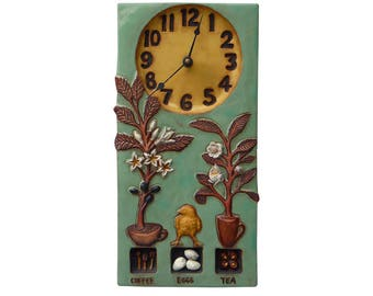 """Coffee,Tea & Eggs Ceramic Art Wall Clock in Teal and Yellow (7.5"""" wide x 14.5"""" high)"""