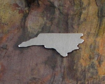"""5 Deburred 1/2"""" x 1 3/8"""" NORTH CAROLINA state Stamping Blanks *Choose Your Metal* Aluminum Brass Bronze Copper Nickel Silver South NC Beach"""