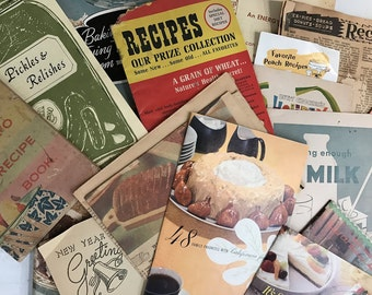 Vintage Cookbooks and Loose Recipe Ephemera - Dates Anywhere from 1930's-70's