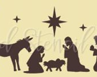 PRIMITIVE STENCIL -Item 6673 KP - Oh Holy Night nativity - Make your own sign - Clear 5Mil Mylar