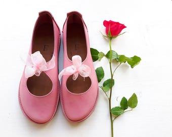 UK 5, Luna Lovegood Fairytale Shoe, barefoot comfort #3278 scumble rosie pink