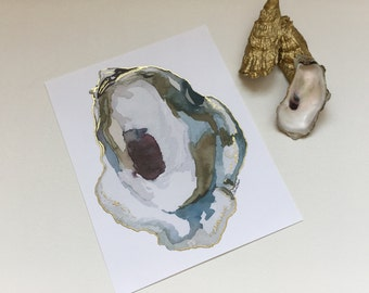 Bayboro Oyster Watercolor Print with Gold