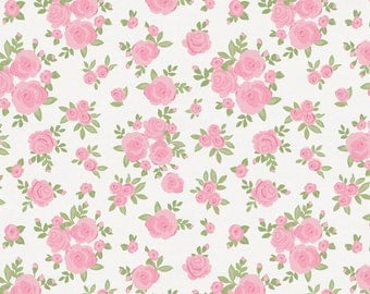 White and Pink Roses Drapery Panels - Pair/ 2 Panels - Girl Room