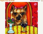 30% off Yorkshire Terrier Wine art Bar Dog Art Tile Coaster Yorkie JSCHMETZ abstract folk ART pop art MODERN