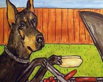 SALE 10 % off for holiday Doberman Pinscher at the Cook Out Dog Art Tile Coaster