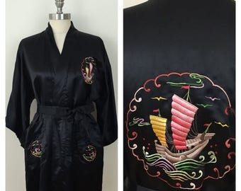 20% Off Sale 70s Golden Bee Chinese Black Satin Embroidered Junk Boat Short Sleeve Robe, One Size, S, M, L, Xl