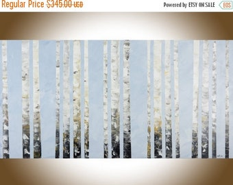 large wall art birch painting Red Yellow Birch tree painting living room wall art by qiqigallery
