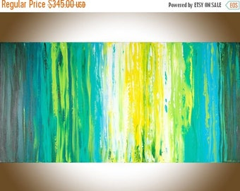 Abstract painting original artwork  painting on canvas wall art wall Decor home decor wall hanging blue green yellow by qiqigallery