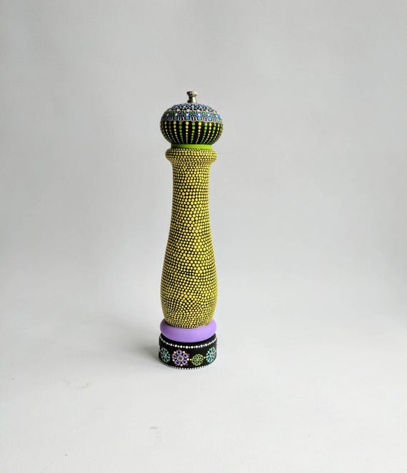 Hand painted Pepper mill: hand painted plastic pepper mill Yellow festive