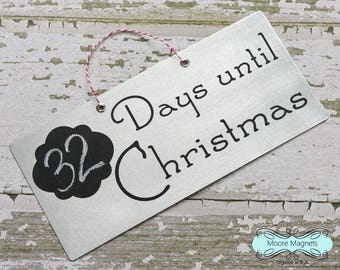 Countdown to Christmas Chalkboard Sign Galvanized Metal
