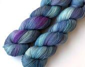 Hand Dyed Yarn Superfine Merino Silk Cashmere Lace Yarn 1235 yards Soft Iris