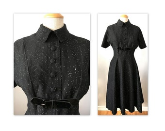 Vintage 50s Flecked Black Dress S with patent buckles