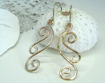Gold Swirl Earrings - Gold Dangle Earrings - 14kt Gold Ocean Inspired Jewelry - Wave Earrings - Gold Scroll Filigree - Ocean Waves
