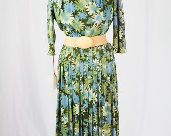 1950-60s Floral Pleated Day Dress