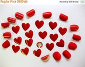 Winter Sale - Vintage Hearts and Red Seals, Gummed, in Vintage Box