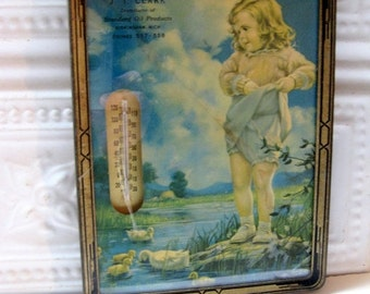 HOLIDAY SALE - Vintage Advertising Wall Hanging, Thermometer with Print, Standard Oil, Michigan