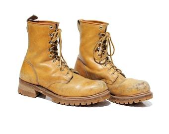Vintage Men's Golden Brown Leather Steel Toe Work Boots / size 10