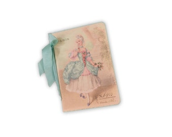 Marie Antoinette Mini Journal, Bridesmaid gift, Paris Journal, Small Marie Antoinette Journal, Pink and Blue