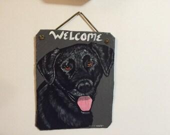 Black Lab Welcome Slate