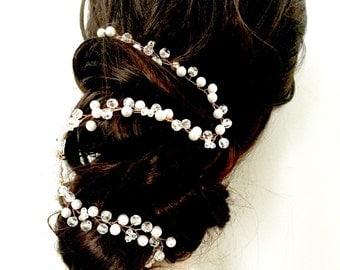 Bridal hair vine, long bridal hairvine, pearl hair vine, crystal hair vine, wedding hairvine