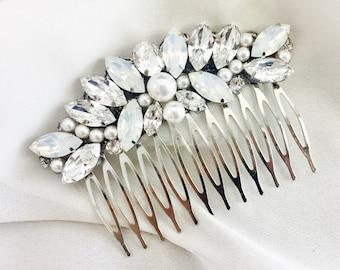 Wedding Hair Comb, pearl and Rhinestone Bridal Comb, Hair Piece, swarovski comb bridal hair comb rhinestone and white opal headpiece