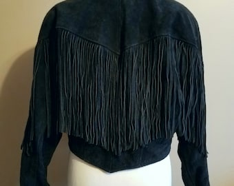 Black Suede 80's Biker Jacket with Fringe