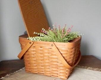 Lovely Vintage picnic cake basket farmers basket gardening plant swing handles lid w leather hinges w plastic liner- Longaberger of Ohio