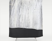 Modern Fabric Shower Curtain in Graphic Charcoal Grey Lined Pattern and Industrial Scratched White Painted Plaster Asymmetrical Pattern Mix