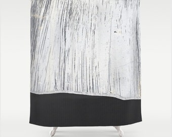 Fabric Shower Curtain Printed with Graphic Charcoal Grey Lined Pattern and Industrial Scratched White Plaster