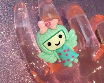 Mint Angel Girl Ring