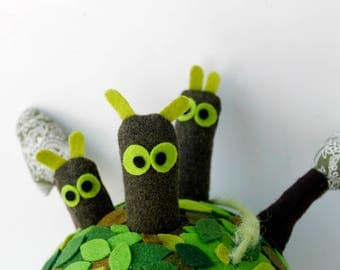 Green Planet with residents, Planet children's mobile, Lonely planet, Felt planet baby mobile, Space mobile art, Nursery mobile decoration