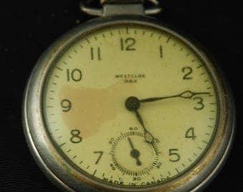 Vintage Antique Watch Pocket Watch Movement Case Body Dial Face Steampunk Altered Art LR 4