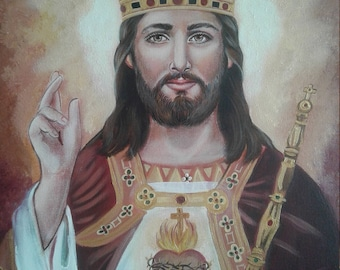 "Christ the King, Jesus, Lord and Savior, 8"" X 10"" and 11"" X 14"" Prints on White Card Stock, taken from my Original OOAK Catholic Art, signed"