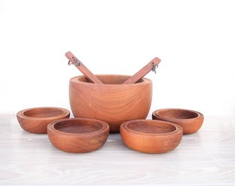Large Wood Teak Bowl Serving Set