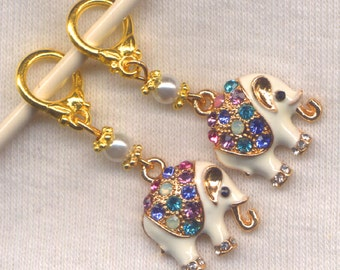 White Elephant Knitting Stitch Markers Rhinestone Bling Lucky set of 2/SM13B