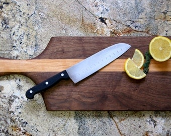 Paddle Shaped Mixed Wood Cutting Board with Integrated Bowl Serving Tray Large