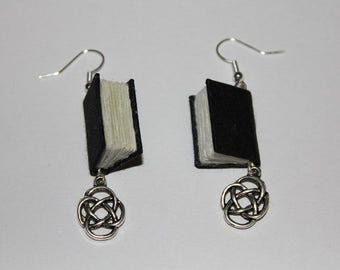Black  Bound Book Earrings With Celtic Knots