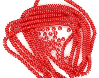 Vintage Red Spacer Beads 4mm Opaque Glass Rondelles 100 Pcs.